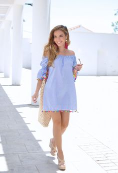 Pom pom dress, Etxart & Panno sandals and maxi earring - Pregnancy Maternity Dresses For Baby Shower, Cute Maternity Outfits, Stylish Maternity, Pregnancy Outfits, Maternity Wear, Maternity Fashion, Cute Outfits, Vestidos Para Baby Shower, Kids Sportswear