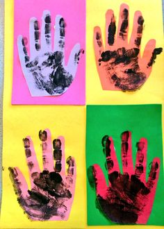 Andy Warhol Art Lesson today great use of motor skills - cutting, gluing, pasting Color theory handprint portrait Andy Warhol Pop Art, Kindergarten Art Lessons, Art Lessons Elementary, Arte Pop, Arte Elemental, Ecole Art, Preschool Art, Art Lesson Plans, Art Classroom