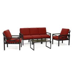 Blakely's iconic matte black frame is as classic and understated as it is durable. Manufactured from rust proof aluminum and outdoor olefin fabric, Blakely is made to stand up to the elements. The cushioned seats are a generous 22 in. Outdoor Lounge Furniture, Patio Furniture Sets, Outdoor Chairs, Outdoor Fabric, Red Cushions, 3 Piece Sofa, Sofa Seats, Patio Seating