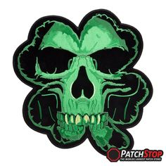Iron On// Sew On Embroidered Patch Badge Skull in Shamrock Skeleton Head