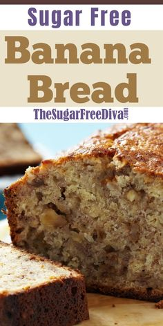 So Good! Your go to banana bread recipe!You can find No sugar desserts and more on our website.So Good! Your go to banana bread recipe! Recipe For Sugar Free Banana Bread, Sugar Free Bread, Keto Banana Bread, Sugar Free Baking, Banana Bread Recipes, Keto Bread, Recipes For Bananas, Low Calorie Banana Bread, Desert Recipes