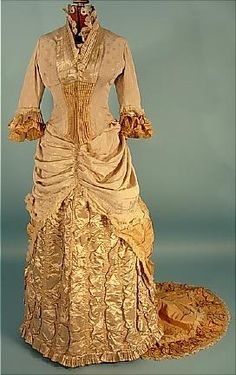 c 1882. 2-piece Trained Light Taupe Silk Crepe and Satin Two-Tone Dinner Gown with Golden Silk Taffeta Trim