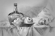 Ideas fruit sketch pencil still life Still Life Sketch, Still Life Drawing, Still Life Art, Drawing Sketches, Pencil Drawings, Art Drawings, Still Life Pencil Shading, Painting & Drawing, Watercolor Paintings