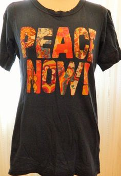 Women's Lucky Tees Tshirt Peace Now! 100% Cotton Size XL Navy Made in USA #Lucky #GraphicTee
