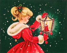 Vintage Christmas card with a pretty girl in a red holiday coat holding a  lantern.