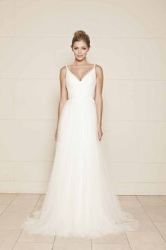 v neck sleeveless romantic tulle open back simple a line bridal gown