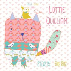 New Baby Girl Cat Card