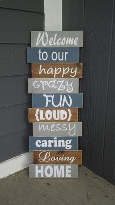 Home Decoration - Rustic Front Porch Decor/Crazy Fun Family Sign/Outdoor Fall Decor/Front Porch Si. Chic Retro, Front Porch Signs, Front Porch Decorations, Diy Front Porch Ideas, Diy Porch, Fromt Porch Ideas, Garden Decorations, Diy Outdoor Decorations, Welcome Porch Signs