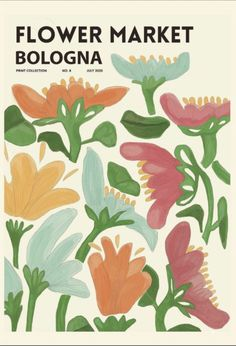 """Artwork named BOLOGNA. This is artwork is number 8 in the print collection """"Flower Market"""" created 2020. Available in sizes 30x40cm, 50x70cm & 70x100cm. (Approximately 11.8 x 15.7 inches , 19.7 x 27.5 inches , 27.5 x 39.3 inches) All artworks are printed on 180gr MH-1884 matt coated, FSC certified paper Frame is not included. With every order we donate 10 SEK (and 5 sek per purchased postcard) to the Kvinna to Kvinna foundation that promotes women's rights in conflict-affected areas around t Bedroom Wall Collage, Photo Wall Collage, Picture Wall, Collage Art, Wall Art, Poster Wall, Poster Prints, Photowall Ideas, Dorm Posters"""