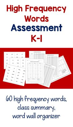 High Frequency Words Assessment K-1. 3 sets of 20 high frequency words that appear often in leveled books for emergent readers in kindergarten and 1st grade. Class summaries and word wall organizer. This test is taken from a comprehensive assessment, Diagnostic Literacy Assessment for Beginning Guided Reading: K-1, https://www.teacherspayteachers.com/Product/Back-to-School-Diagnostic-Literacy-Assessment-for-Beginning-Guided-Reading-K-1-2645288.