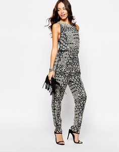 New Look   New Look Embellished Neck Printed Jumpsuit at ASOS