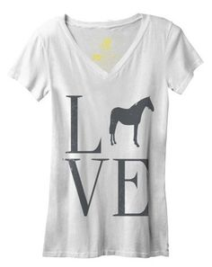 Show your love for horses in our Love Horse tee! Our Love Horse v neck tee is made from our vintage soft ringspun cotton poly blend fabric. This shirt feels super comfortable and has that extra worn f