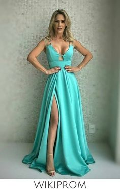 Split Prom Dresses, Straps Prom Dresses, Formal Dresses, Custom Made, Spaghetti Straps, Satin, Color, Store, Products