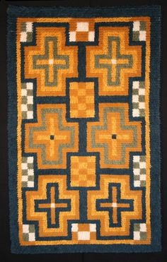 A copy of a traditional ryijy from 1701, woven in 2008. Vesilahti, Finland
