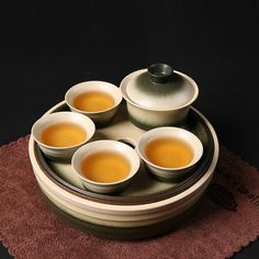 Chinese Porcelain Handcraft Travel / Outdoor/ Portable Tea Set with One Gaiwan,four Tea Cups and Porcelain Tea Tray    The set includes:one tea
