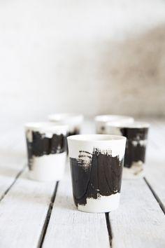 Tazza di tè in ceramica, tazza in ceramica Espresso In nero con chiaro lucido, regalo per