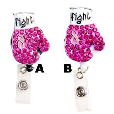 Bling Pink Breast Cancer Ribbon Boxing Glove, owl badge holder, badge clip, nurse badge reel, cute badge reel, nurse id badge, retractable badge reel, bling badge reel, lanyard badge clip, rhinestone lanyard, bling lanyard Rhinestone Retractable Badge Reel, pink ribbon badge reel, breast cancer badge reel