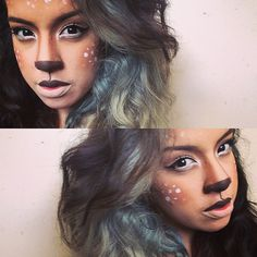 Supposed to be a fawn...ended up being a little too fierce  #halloweenmakeup #fawnfail