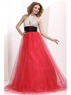 Polina's Pretty A-Line Halter Floor-Length Sequins Prom/Evening Dress
