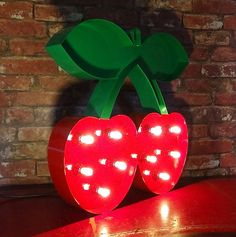 "20"" / 50cm Steel Pacha Cherries Cherry Lit Sign Logo Made In Great Britain Cool…"