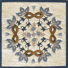 """Art Quilt, my original design. Won HONORABLE MENTION for the Gold Coast Quilters Guild MASKarade Challenge!!!!   Close up of a quilt I made """"Soirée at Versailles"""", machine appliquéd and machine quilted, it measures 31 1/2"""" square.  October 2016"""