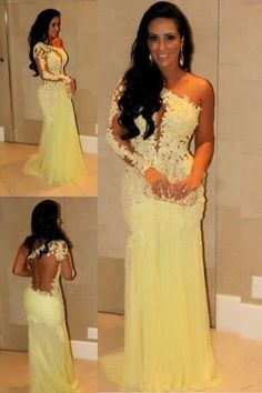 Hot Selling Full Sleeves Mermaid With Deep V Shape Back Lace Tulle Evening Dresses