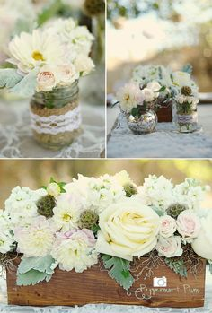 vase with burlap and lace accents!!!  LUV!