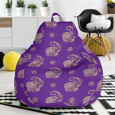 Lucky Purple Elephant Bean Bag Chair – This is iT Original Purple Elephant, Bag Chairs, Bean Bag Chair, Beans, Relax, Just For You, The Originals, Cover, Interior
