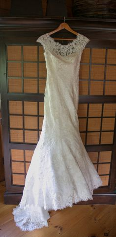 Madeleine's Daughter Bridal Shop — #Madeleine'sDaughterMoment, #unveil40, bridal gown, wedding gown, real bride, real wedding, lace, cap sleeves, illusion neckline, fit & flare, Allure Bridals, ivory