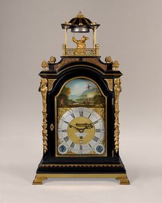 STEPHEN RIMBAULT musical automaton (London, circa 1770 to 1775) A rare musical automaton bracket clock by this well-known maker of musical clocks. The elegant ebonised case has a break arch top and gilt mounts, finials and mouldings and stands on four brass ogee bracket feet. The arched door is bound with a brass moulding, and there are beautifully cast and pierced brass sound frets to the front and sides