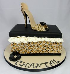 Leopard print Shoe Box Cake and Shoe by Fancy Cakes by Linda, Stevenage, United Kingdom. You'll find this Cake Appreciation Society Member in our Directory at www.cakeappreciationsociety.com