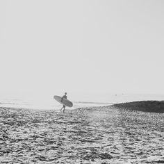 Surfer's Point Black and White, Ocean, Sand, Surf, Surfer