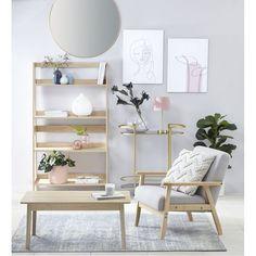 kmart blonde timber armchair with light oak kmart shelf Kmart Decor, Australia Living, Light Oak, Guest Bedrooms, Master Bedroom, Decoration, Bookshelves, Room Inspiration, Room Decor