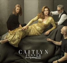 You glow girl: Caitlyn Jenner was showing off a fuller chest as she posed in a gold gown for her MAC campaign