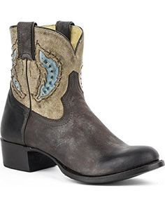 Stetson Womens Betsy Short Cowgirl Boot Round Toe Brown 9 M US -- Click image to review more details.