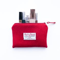 Red makeup bag HARRIS TWEED cosmetic pouch small by LifeCovers