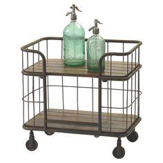Metal and Wood Bar Cart