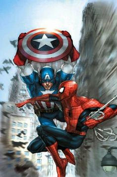 Captain America and Spiderman