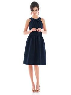 Alfred Sung Style D492 in dupioni in Midnight #dresses #navy #pockets