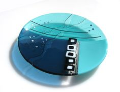 Turquoise Spectrum Bowl. Valerie Adams. Fused glass platter