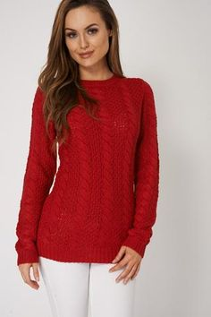 CABLE KNIT LOOSE RED SWEATER