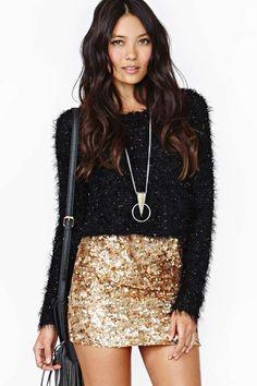 Rare London Gold Crush Sequin Skirt