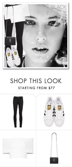 """Black Denim"" by cb-hula ❤ liked on Polyvore featuring M.i.h Jeans, adidas Originals, Rosetta Getty, Yves Saint Laurent, blackandwhite, jeans and blackdenim"