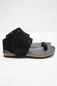 More durable than your average sandal. Leather Ankle Cuff Venus Sandal in Black by Pedro Garcia. Available now at Heist.