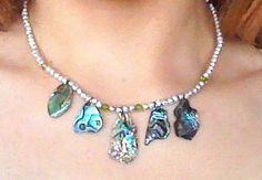 Abalone Necklace Silver and Green by CheyennesAccessories on Etsy, $8.50