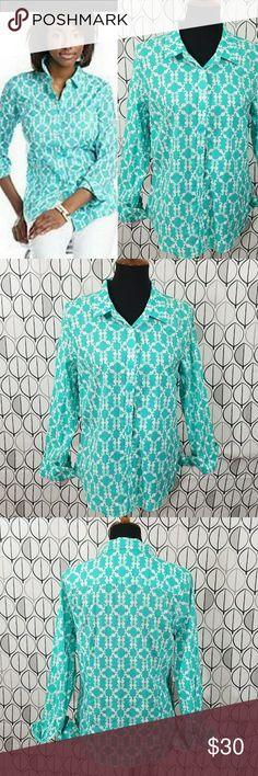 "Crown & Ivy Aqua Teal Seahorse Button down Shirt Crown & Ivy make this seaside comfort shirt! With repeating design of white seahorses on a beachy ocean like teal blue green background.  Wear with on that trip to the cape! Size M Medium measurements laying flat are approximate bust 18"" length 24"" 100% cotton. Light teal and white seahorse shirt. crown & Ivy Tops Button Down Shirts"