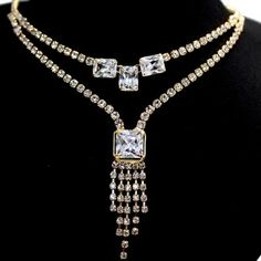 Rectangular Crystal with Earring Gift Box Plating Tassel Necklace Set NS2287A