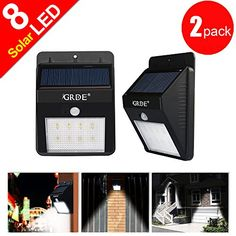 [Bigger 8 Led] 2 Pack Wireless LED Solar Motion Sensor Light;Bigger Size Brighter Daimond Pattern Waterproof Security Motion Sensor Light ;Solar Lights ,Path Lights for Patio - Deck - Garden - Courtyard - Outside Wall
