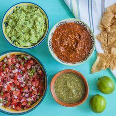 Homemade guacamole, salsa roja, pico de gallo and salsa verde