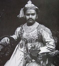 Maharaja Sayaiji-Roa, Gaekwar, Baroda. 1902.   Wearing his famous seven row diamond necklace and other diamond ornaments. In the late 19th and early 20th centuries, virtually every Indian Maharaja commissioned state photographs of themselves wearing their most important jewelry as a symbol of their power and position.